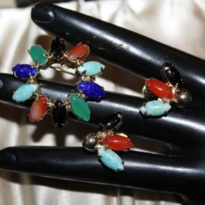 VTG STONES CARNELIAN LAPIS EARRINGS SET SU3